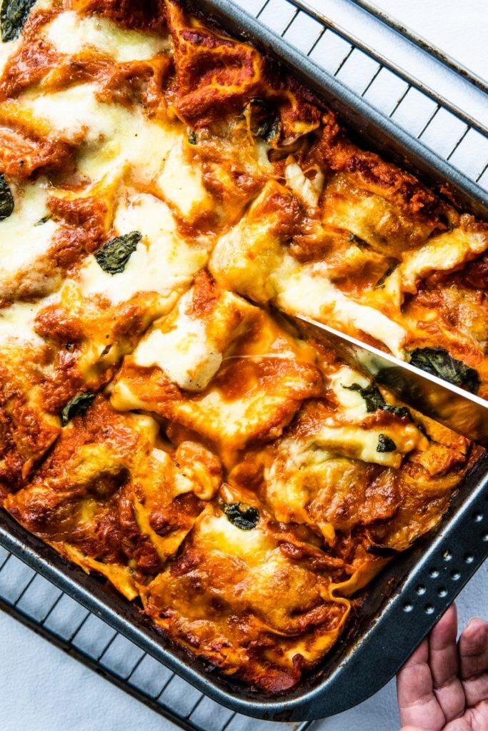 Vegetarian lasagne with spinach, olives, and tons of cheese 1