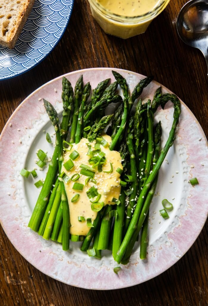 Asparagus with miso mayo and sesame 1